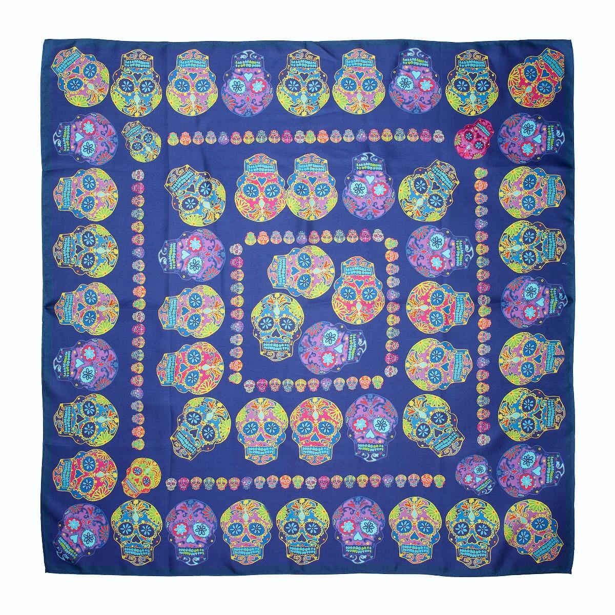 Sugar skulls scarf (blue)