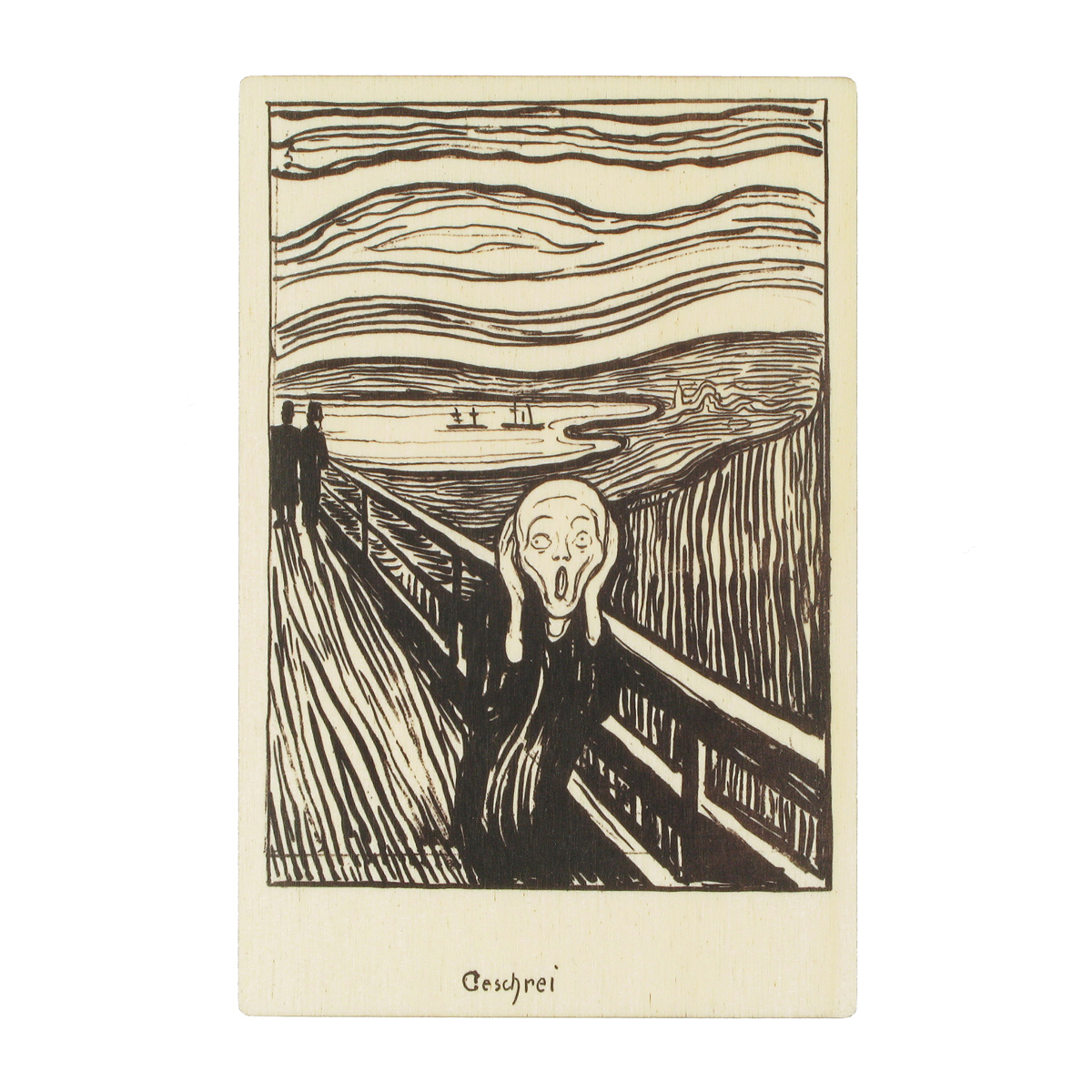 The Scream wooden postcard