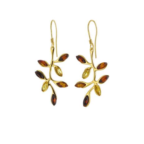 Amber branch earrings