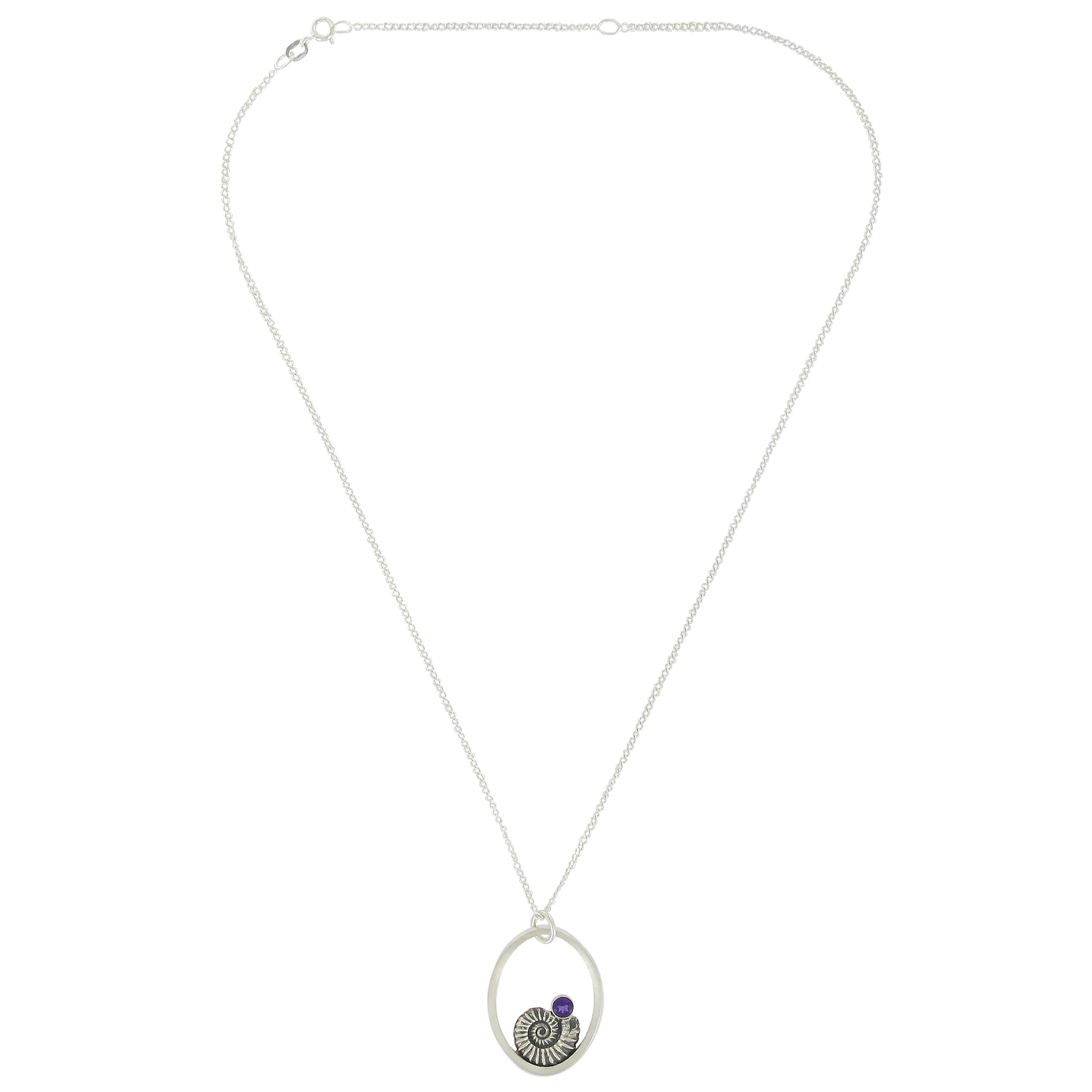 Amethyst ammonite necklace
