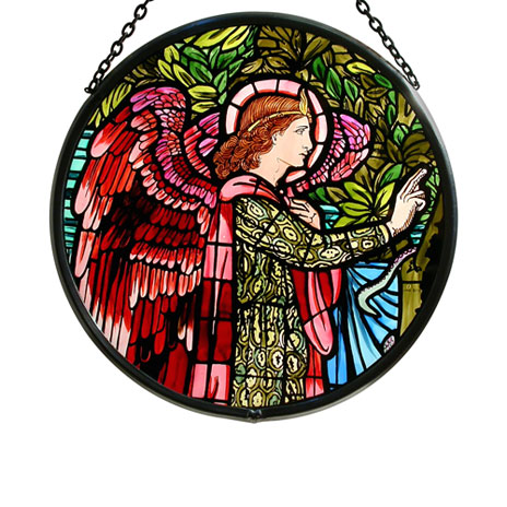 Angel Gabriel stained glass roundel (small)