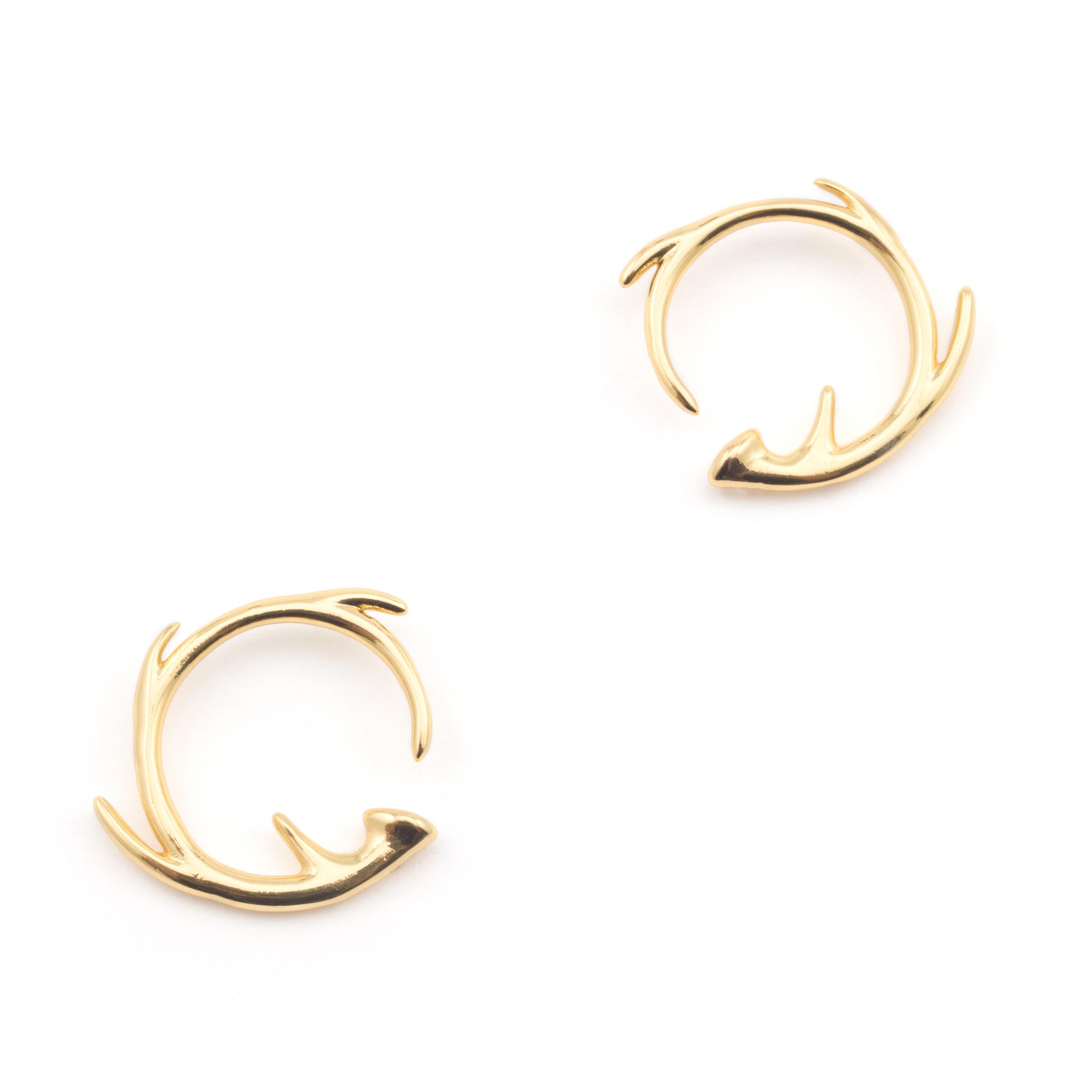 Antler circle earrings