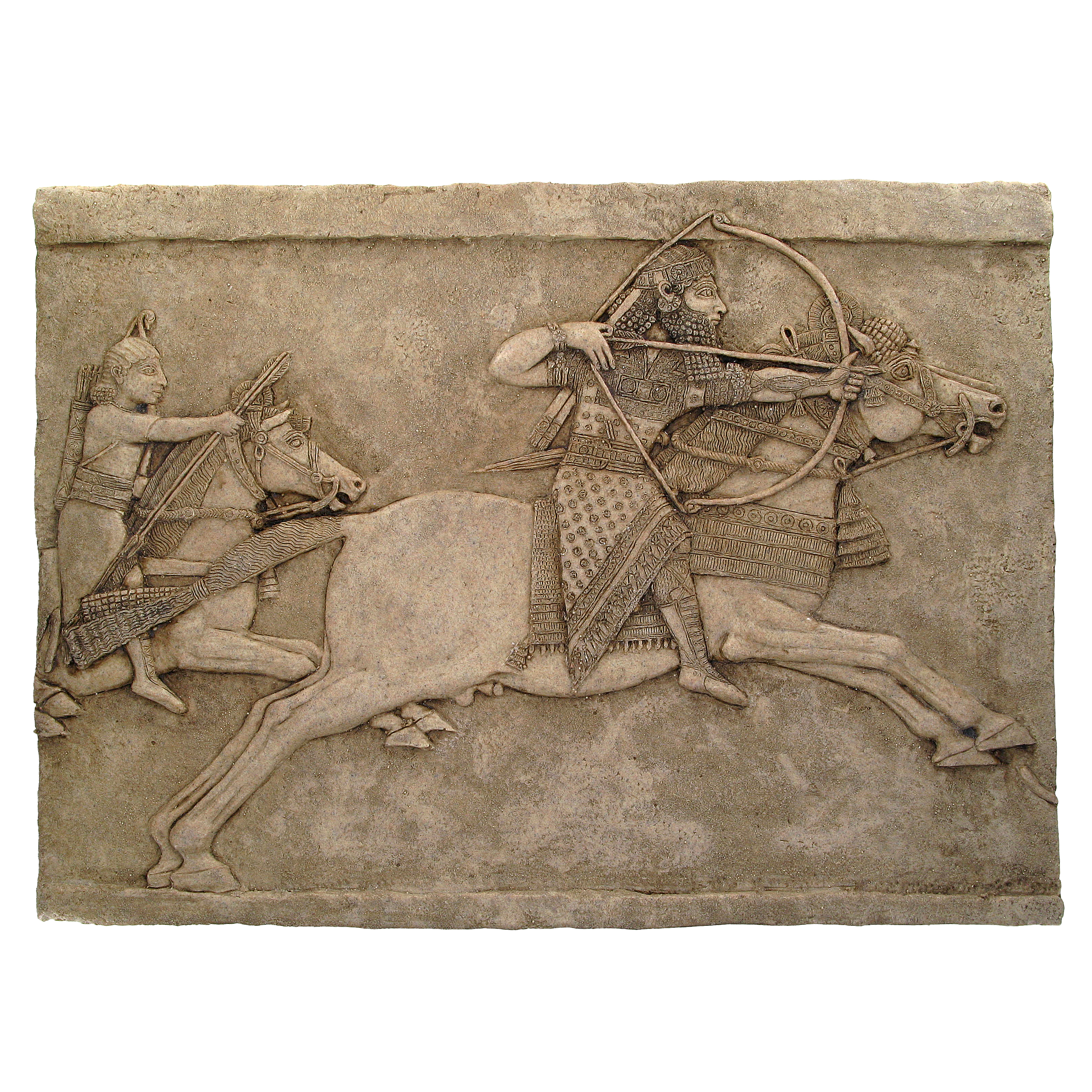 Ashurbanipal and horse plaque