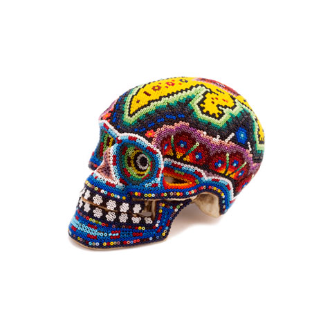 Huichol Indian art skull, small