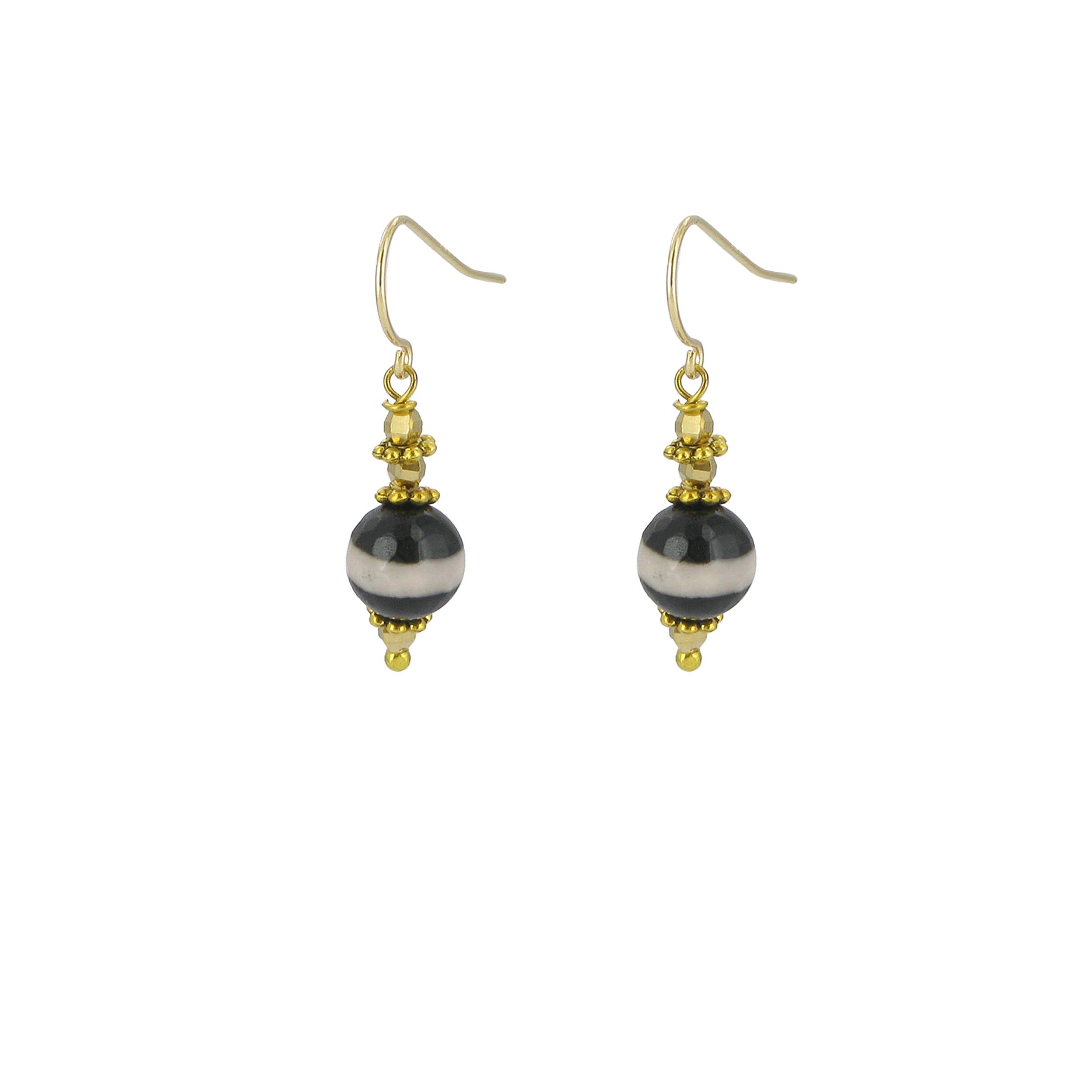 Black and white agate drop earrings