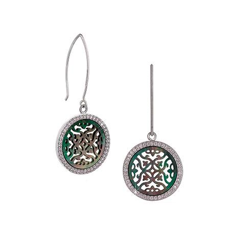 Mother of pearl oriental sea earrings (black)