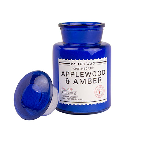 Blue apothecary candle (applewood a...