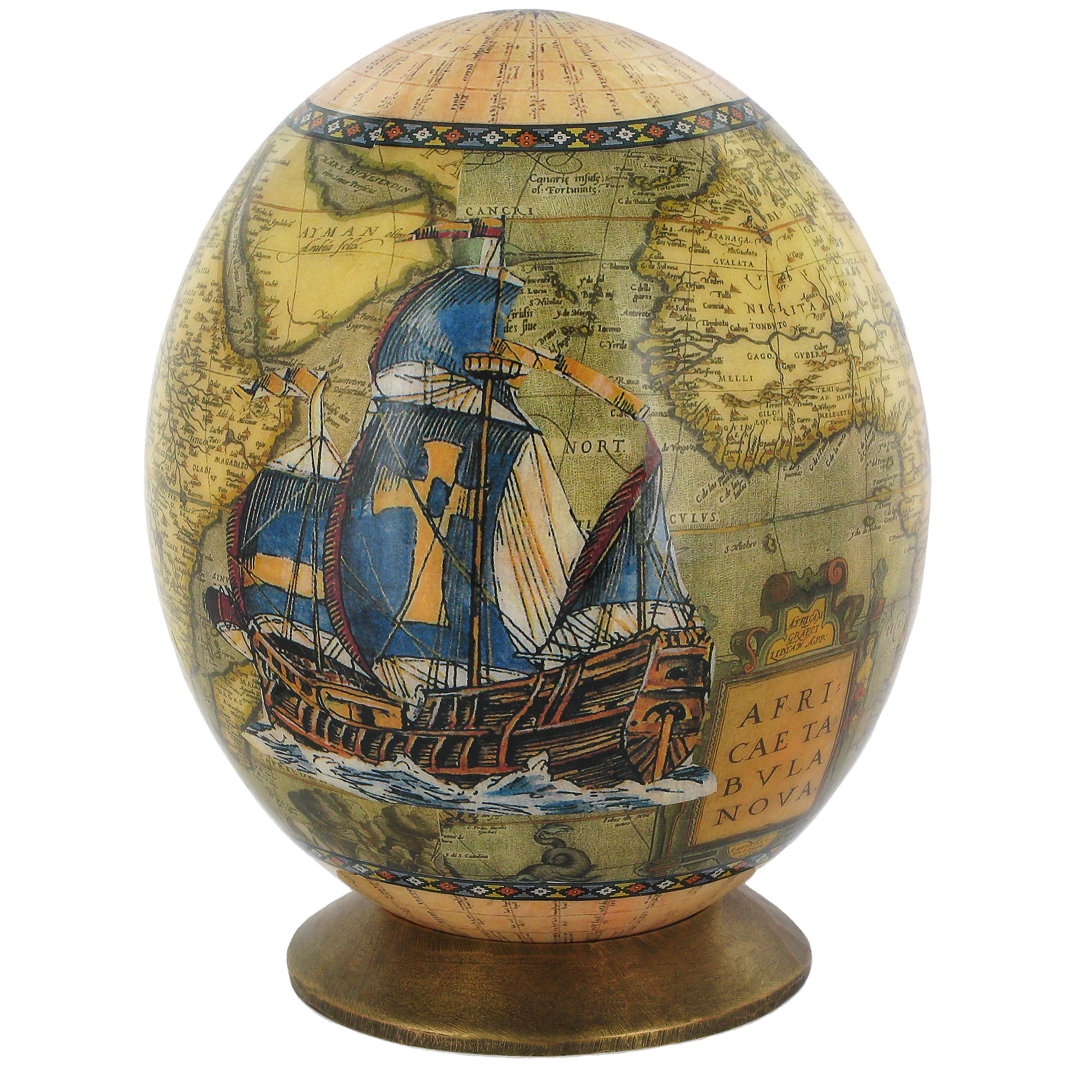 Boat Ostrich egg ornament