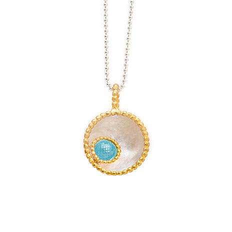 Byzantine blue topaz pendant necklace