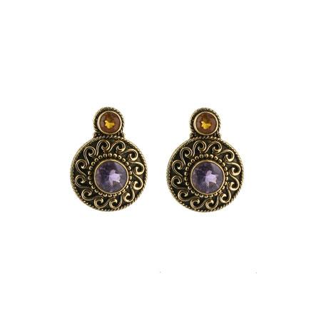 Byzantine purple stud earrings
