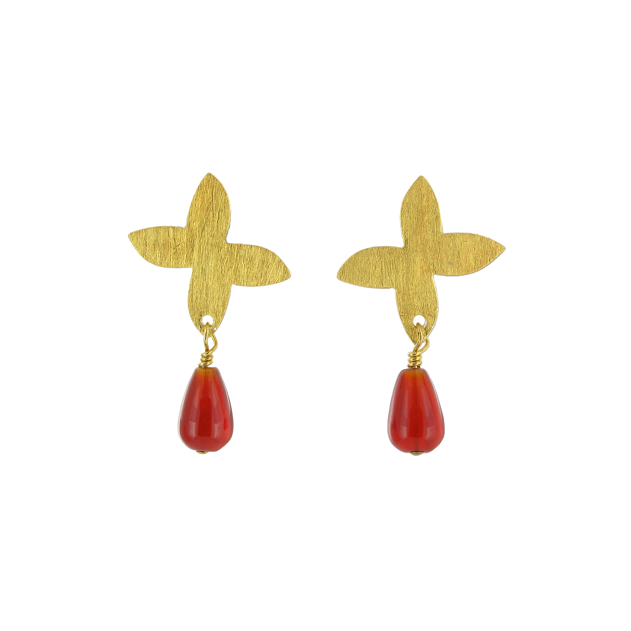 Carnelian flower drop earrings