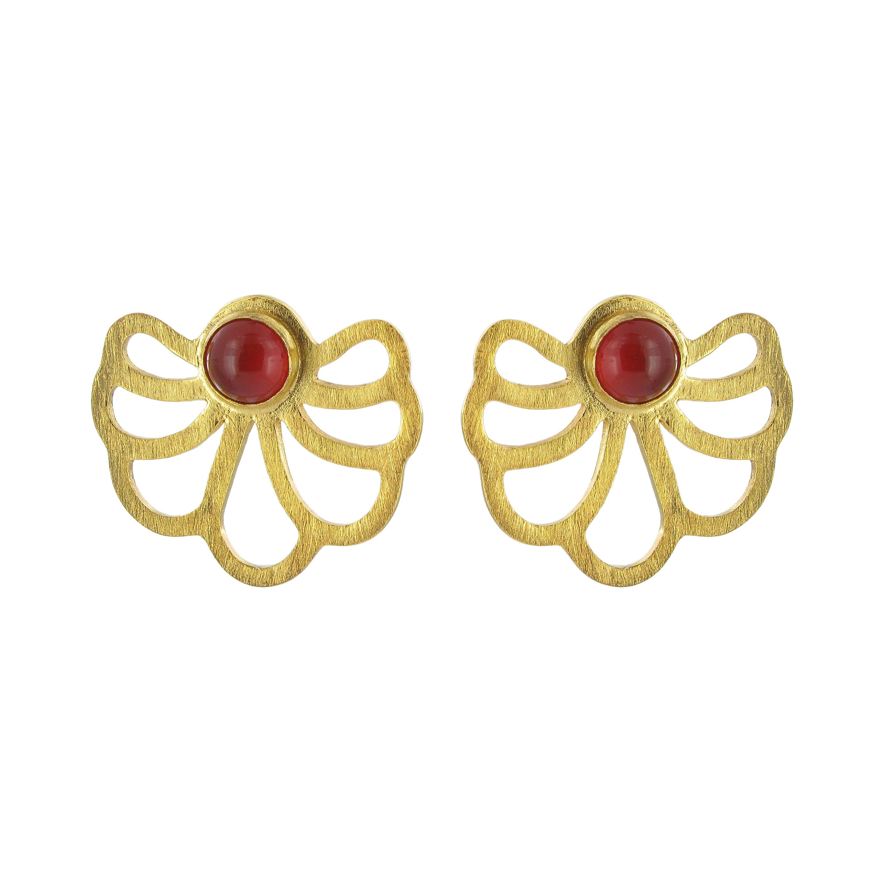 Carnelian lotus stud earrings