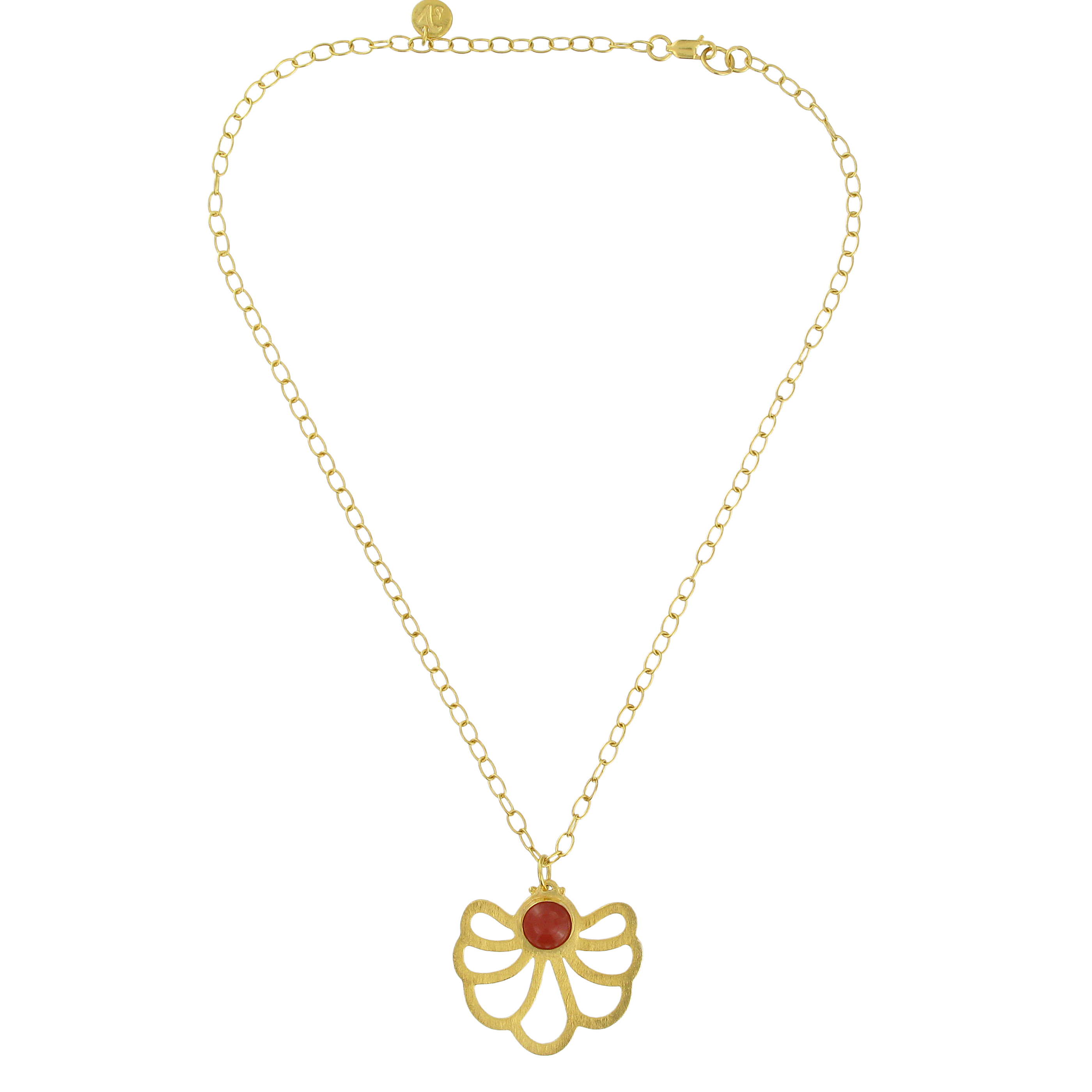 Carnelian lotus pendant necklace