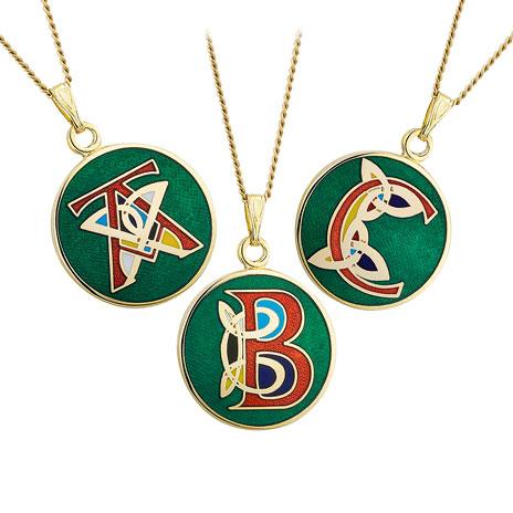 Celtic initial pendant necklace