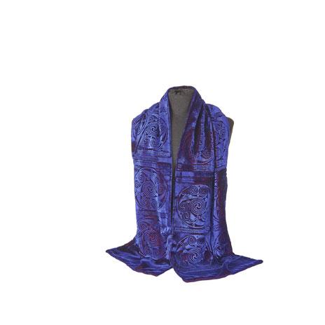 Celtic velvet blue scarf