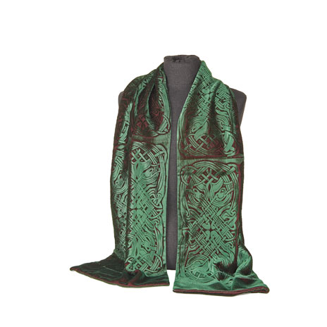 Celtic velvet green scarf