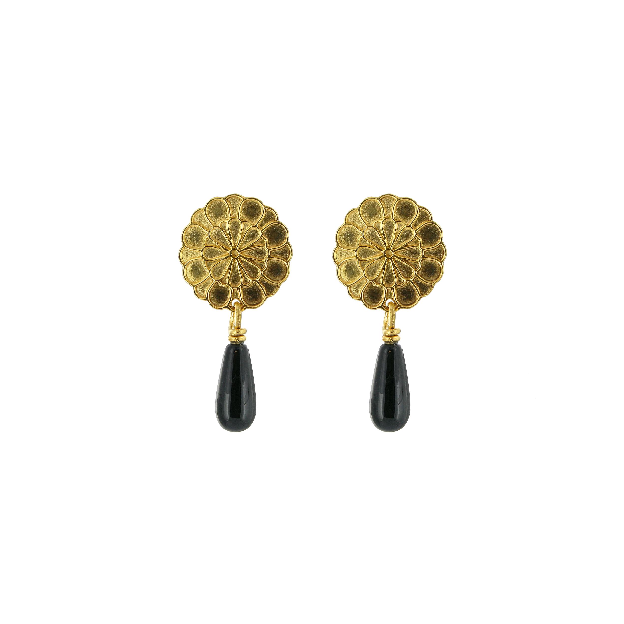 Chalcedony flower drop earrings