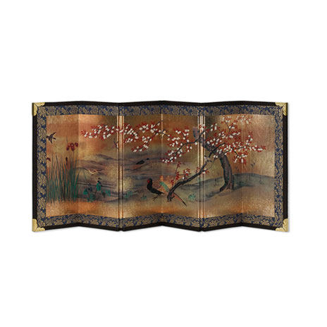Japanese Byobu screen (Cherry & Pheasant)