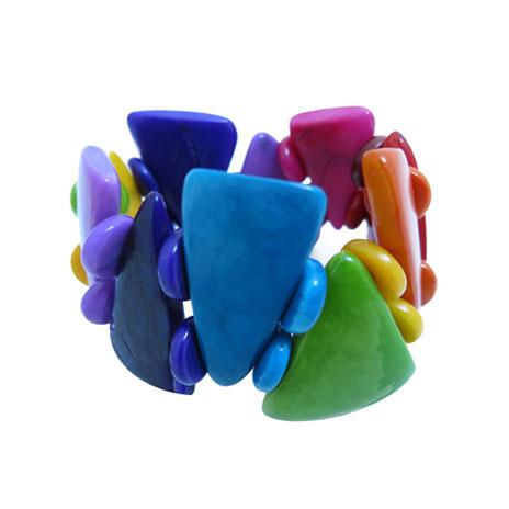 Tagua pyramid bracelet (colours vary)