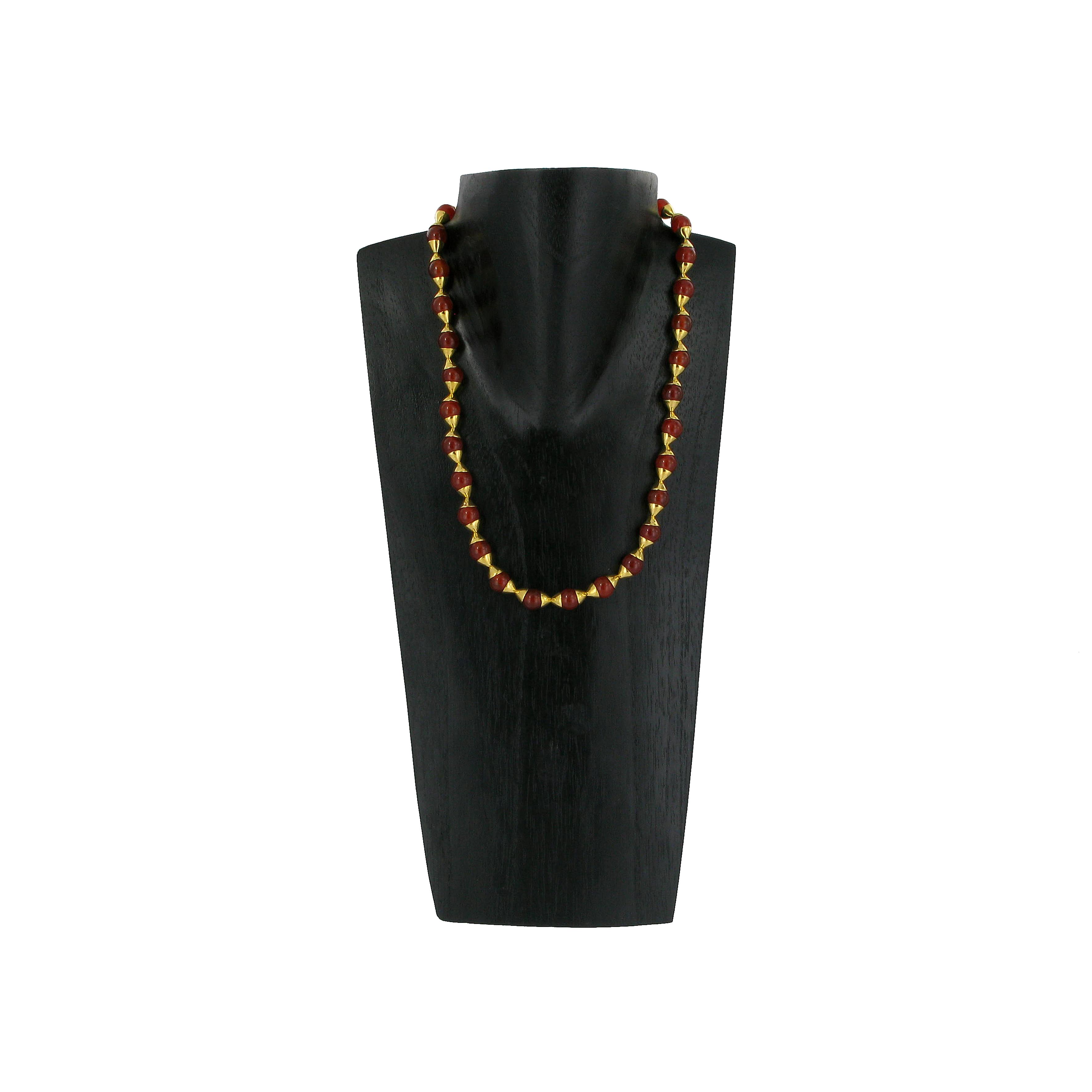 Egyptian carnelian drop necklace