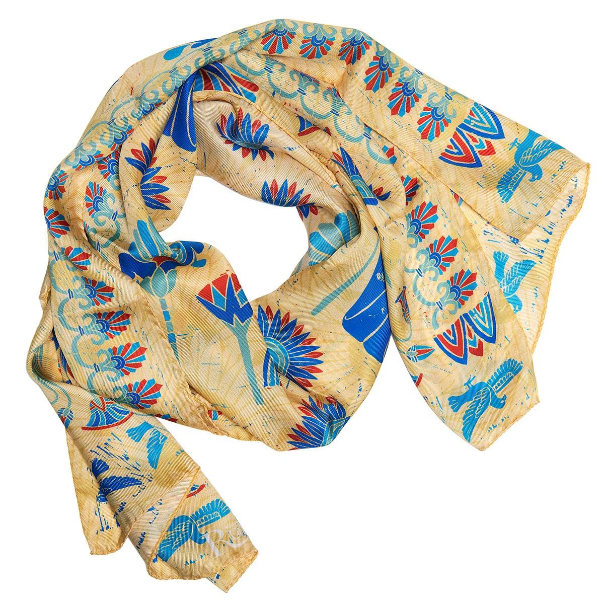 Egyptian lotus silk scarf (gold)