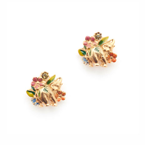 Elephant floral stud earrings
