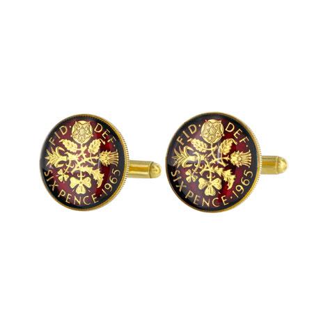 Elizabeth II Sixpence cufflinks