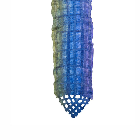 Felted blue and green grid scarf