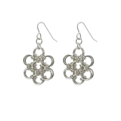 Chainmaille flower drop earrings