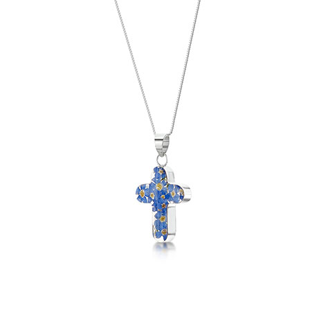 Forget me not cross pendant necklace