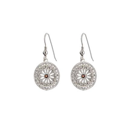 Garnet filigree drop earrings