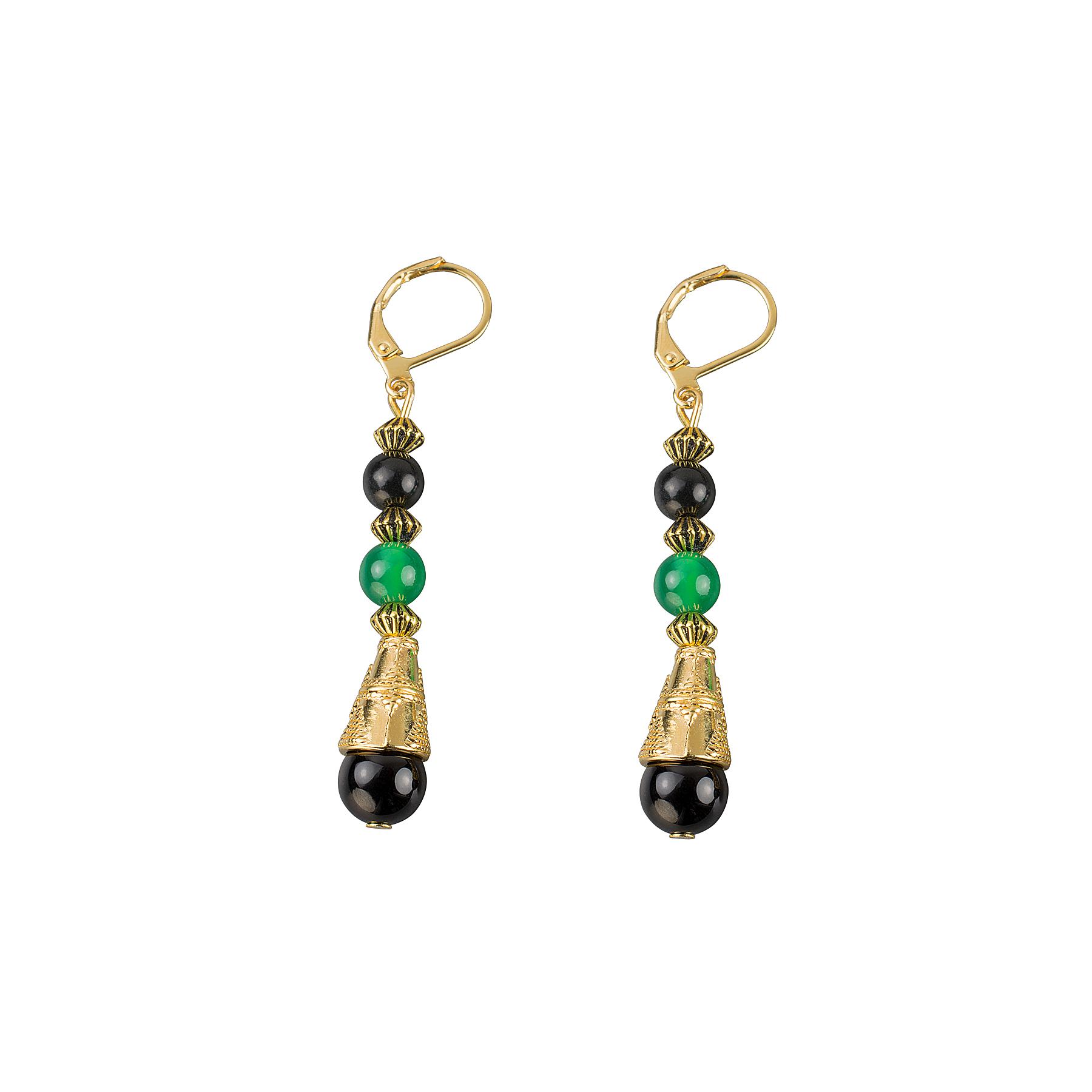 Green agate and onyx  drop earrings