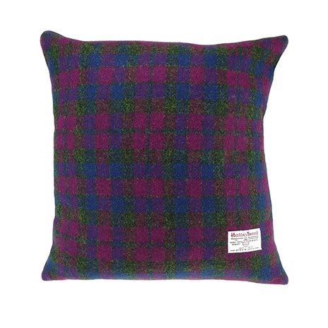 Harris Tweed tartan cushion (heather)
