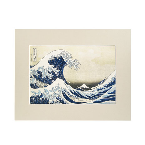 """The Great Wave mounted print, 11"""" x 14"""""""