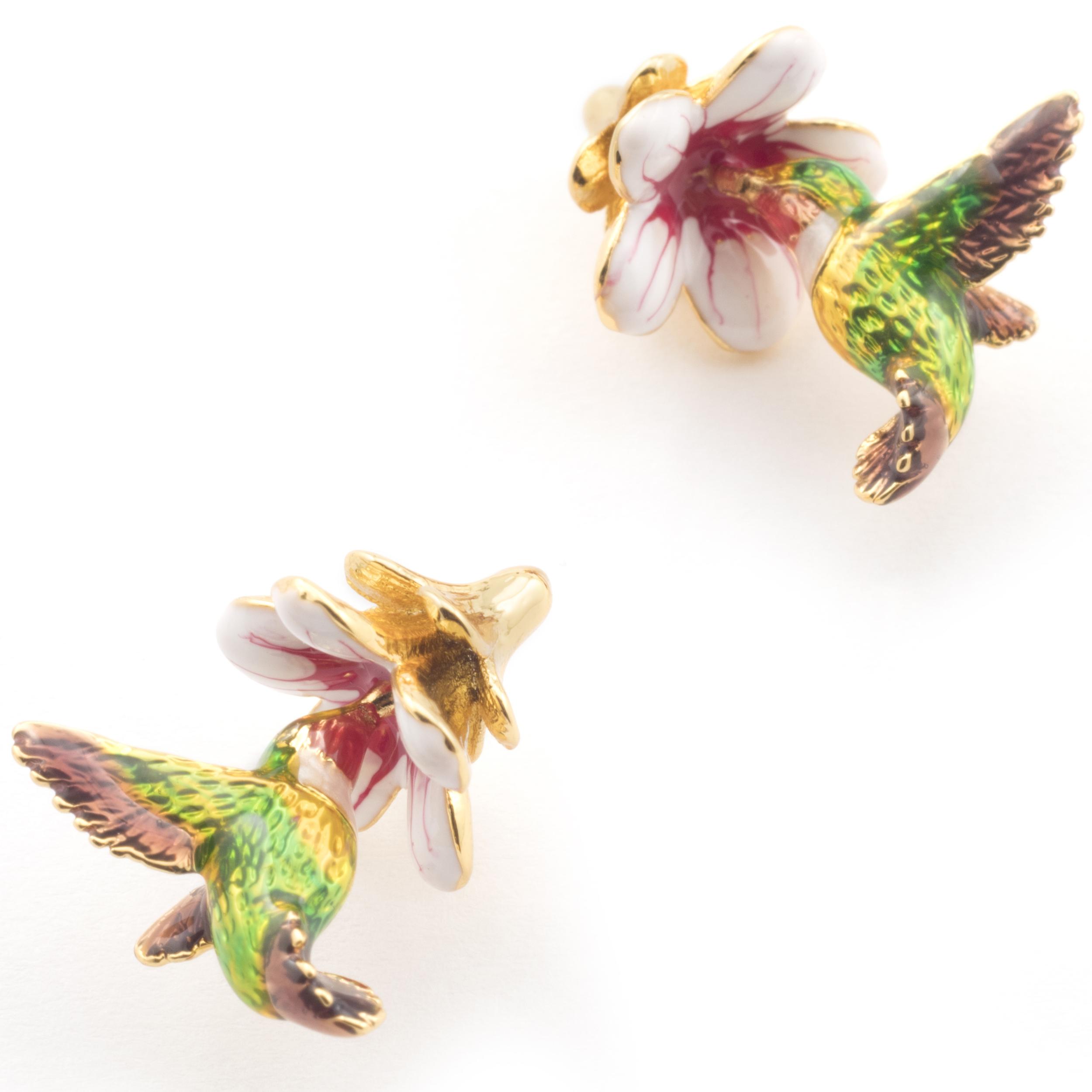 Hummingbird floral stud earrings