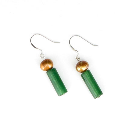 Jade tube and gold pearl earrings