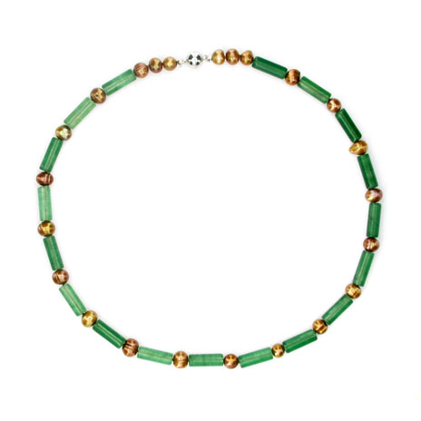 Jade tube and gold pearl necklace