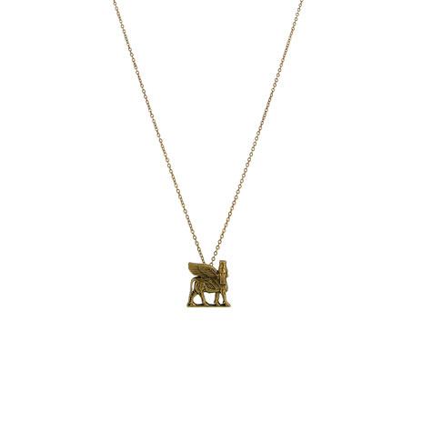 Lamassu winged bull necklace