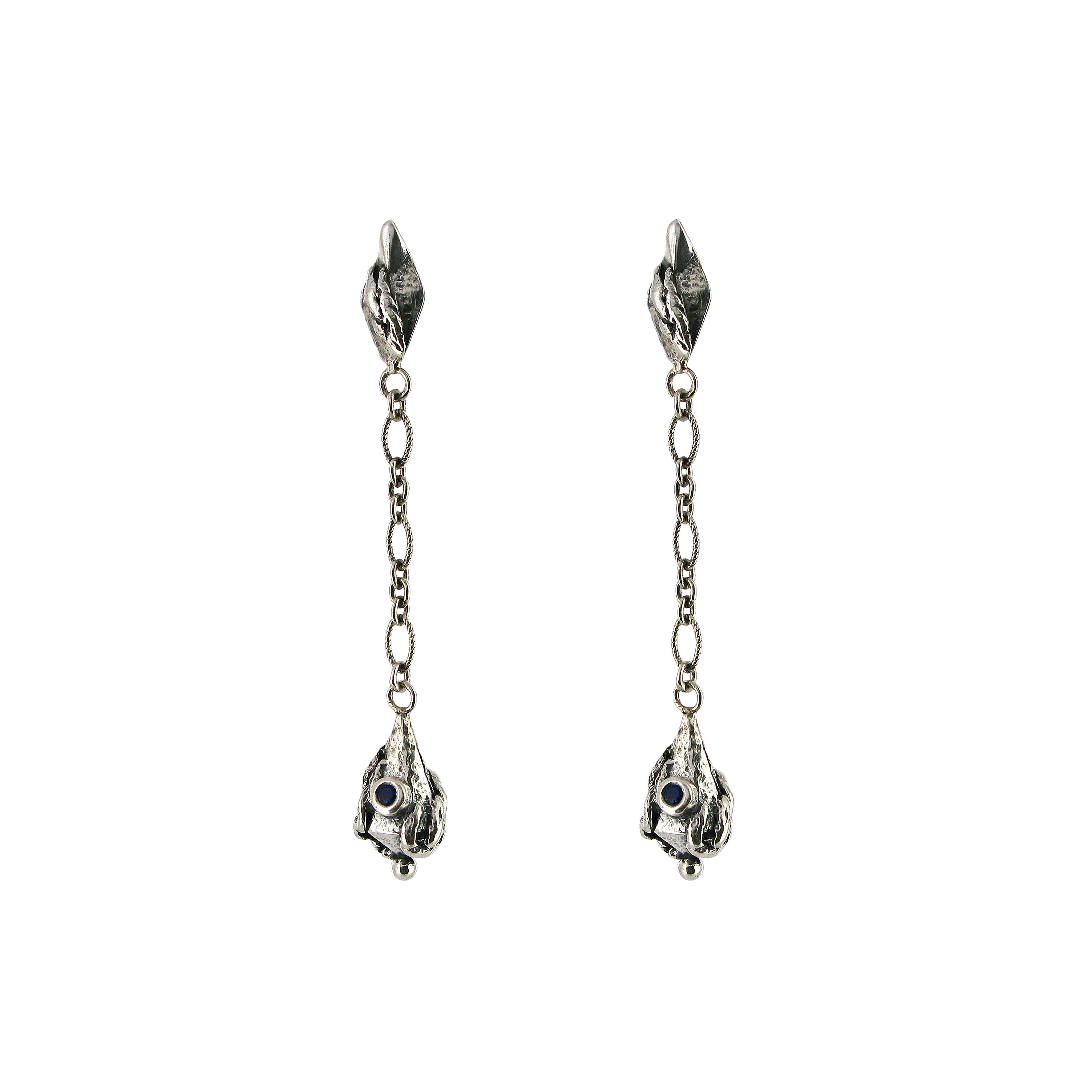 Lantern silver drop earrings