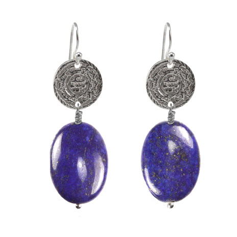 Lapis Calligraphy earrings