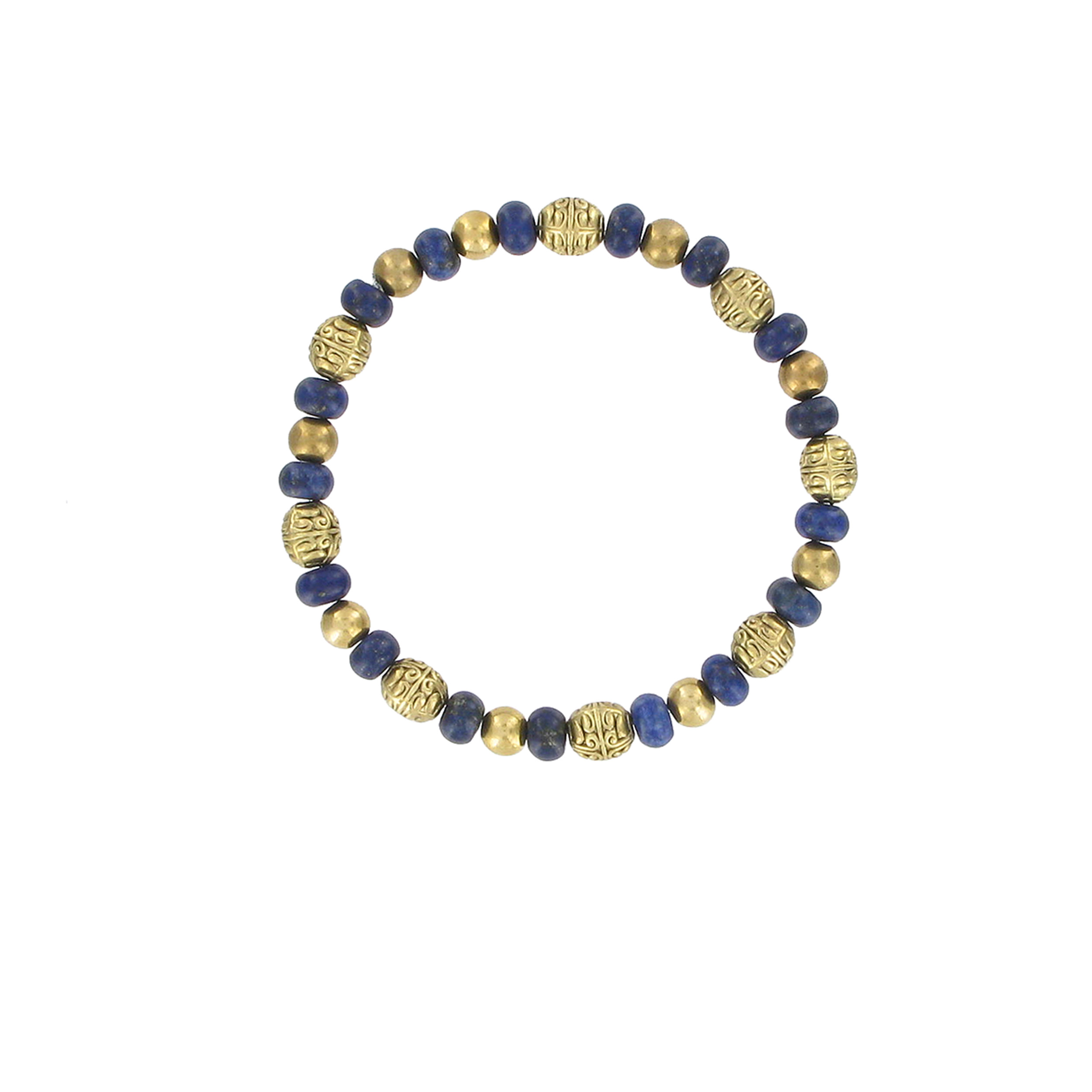 Lapis and brass bead bracelet
