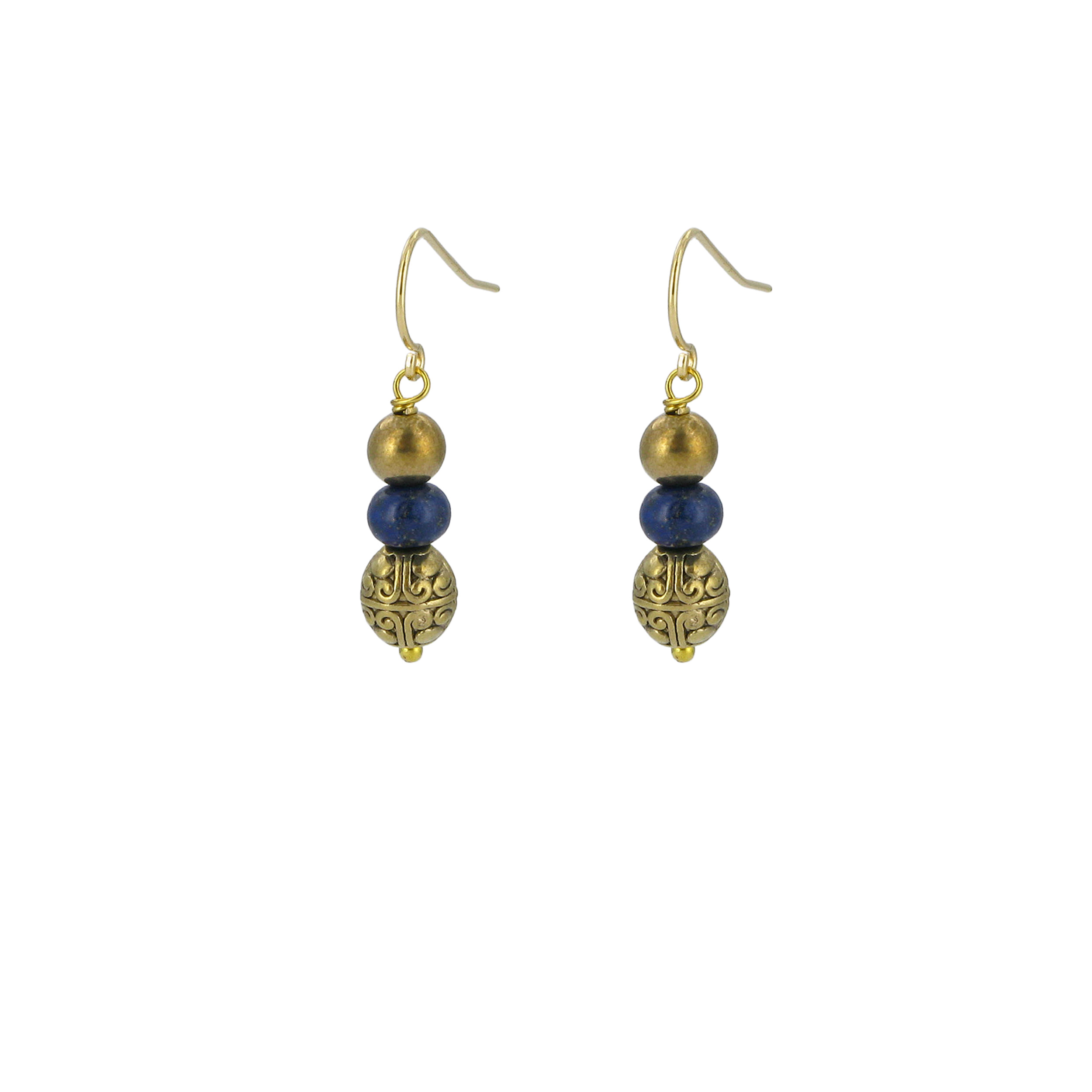 Lapis and brass bead drop earrings