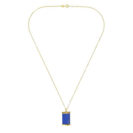 Lapis block gold necklace (Vida)