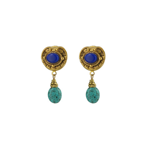 Lapis and turquoise brass earrings