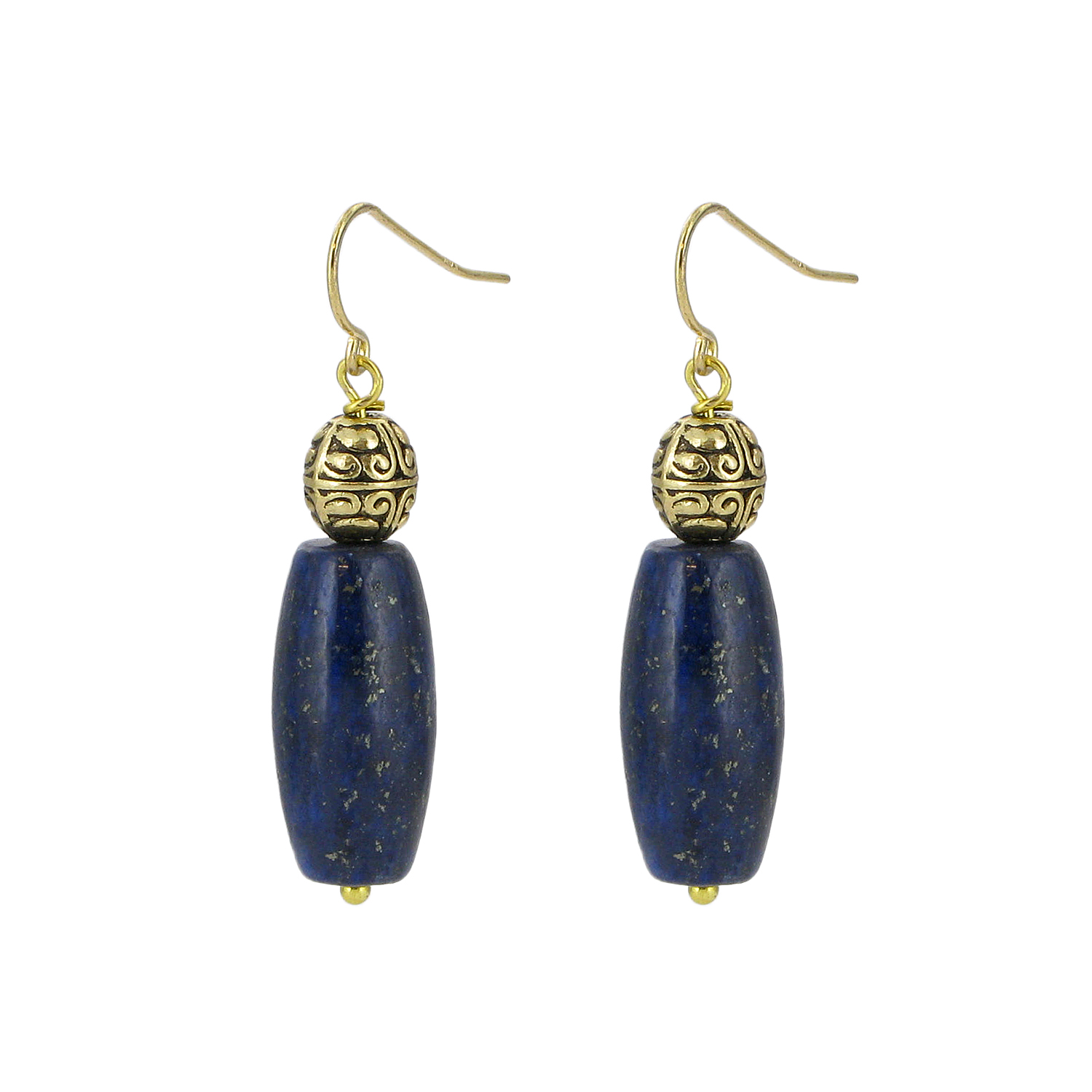 Lapis lazuli and brass drop earrings