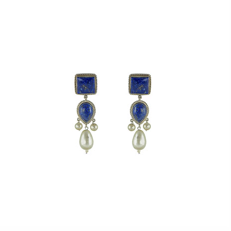 Lapis and pearl drop earrings