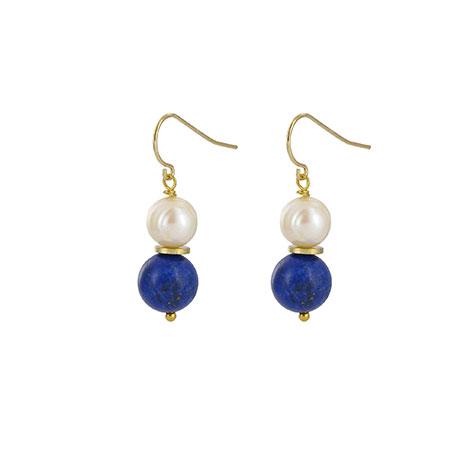 Lapis and pearl lotus earrings