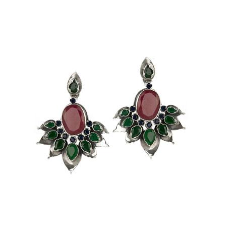 Lotus earrings  (red & green quartz)