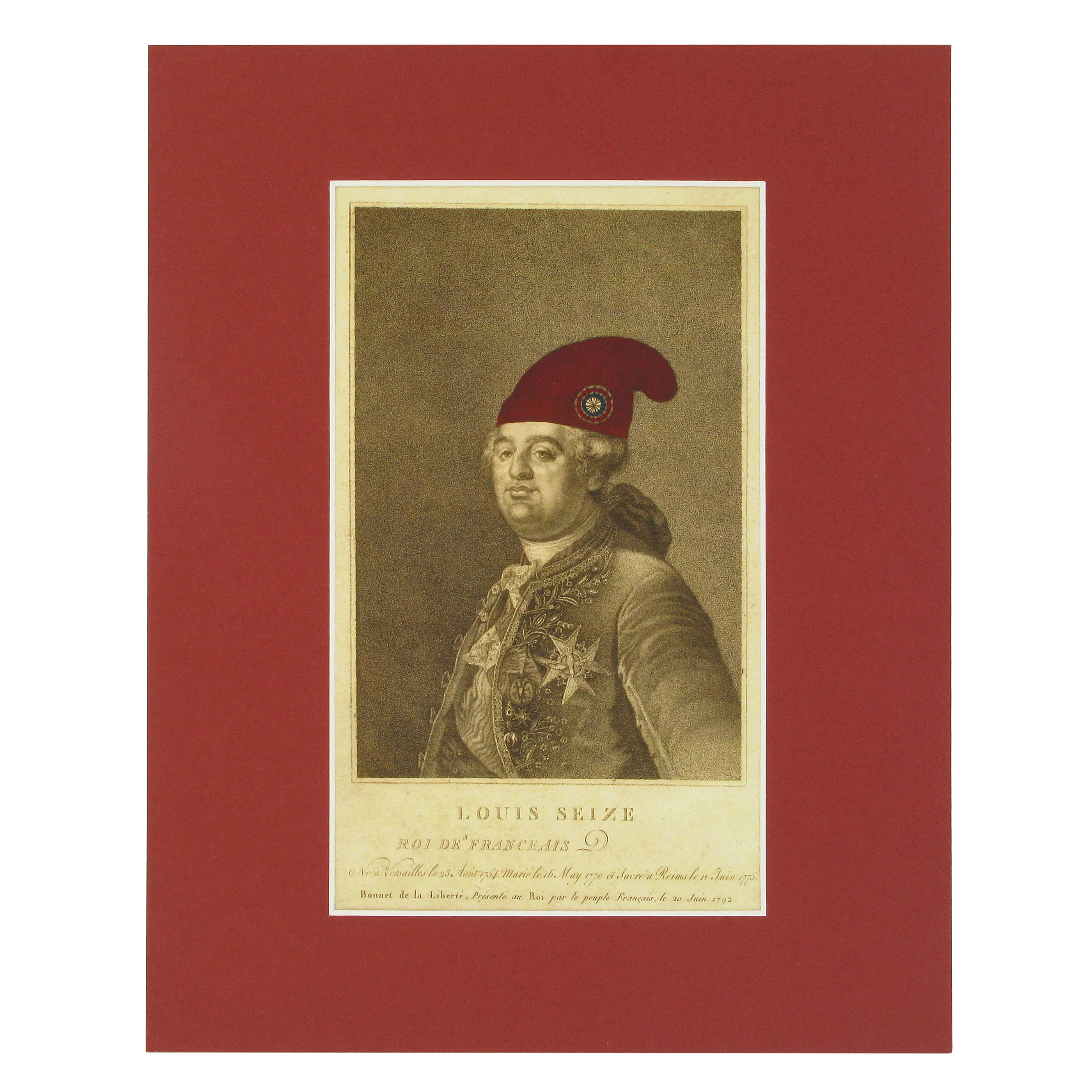 Louis Seize, Roi des Franceais print