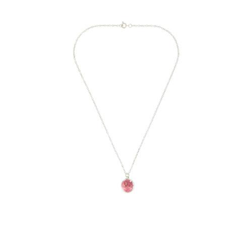 Mini glass globe pendant necklace pink aloadofball Choice Image